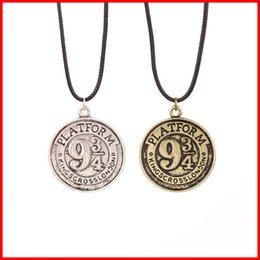 Wholesale Round Coins - Harry Platform 934 coin Necklaces Antique silver bronze Round rope chain Engraved charm pendant Necklaces Potter Christmas gift