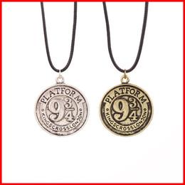 Harry Platform 934 Collares de monedas Plata antigua de bronce Cuerda redonda Cadena grabado encanto colgante Collares Potter regalo de Navidad desde fabricantes