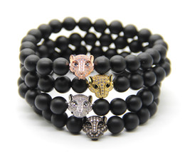 Wholesale Leopard Agate - 2016 High Grade Fashion Jewelry Wholesale, 8mm Black Matte Agate Stone Beads with Micro Pave Cubic Zirconia CZ Leopard Bracelets