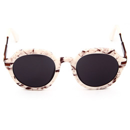 Wholesale Trendy Shades - Vintage Trendy Round Frame Sunglasses Fashion Mirrored Eyewear Shades Half Metal Leg Mirror Sun Glasses Hot!