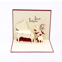 Wholesale Piano 3d - Angel piano 3D Pop UP Gift & Greeting 3D Blessing Cards Handmade paper silhoue & Creative Happy Birthday Cards christmas cards