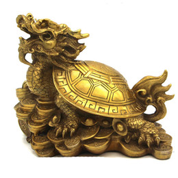 Wholesale Turtle Ornaments - lucky Chinese famous brass Fengshui Dragon Turtle Statue