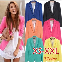 Wholesale Candy Colored Blazers - EUROPEAN STYLE FASHION LADIES ONE BUTTON SUIT JACKET FEMALE CANDY-COLORED SUIT SLIM MULTICOLOR