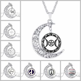 Wholesale Movies Clock - jewelry vintage silver necklace 2016 movie Moon clock Pentacle Glass pendant necklaces Choker men Jewelry for women