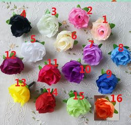 "Wholesale Wholesale Silk Flower Buds - 100Pcs Artificial Silk Rose 1.2""Flower Head Bud 8 Color Home Wedding Home Decor Hair Clip Artificial Flowers Wedding Party Display Flower"
