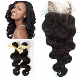 Wholesale Natures Hair Color - Sale! Body Wave Brazilian Human Hair Extensions with lace closure With DHL Nature Color Dyeable Bleachable Hair Extensions G-EASY
