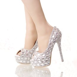 Wholesale Silver Peep Toes - Handmade Silver Diamond Wedding Shoes Peep Toe Platforms Rhinestone Prom Party Shoes Super High Heel Stilettos Bridal Shoes