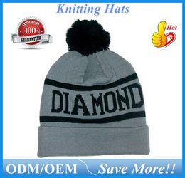 Wholesale Clay Skulls - Autumn Winter Kntting Hats Hiphop Diamond Beanies 2016 Sports Outdoor Warm Acrylic Beanie Skull Caps Black Clay ouc0101 DHL