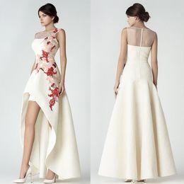 Vestiti di kobeisy sapone online-Nuovi abiti da ballo in pizzo basso alto Saiid Kobeisy Sheer gioiello scollatura abiti da sera economici Appliqued abiti da sera per le donne
