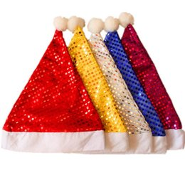 Wholesale Santa Fancy Dress - Party hats Christmas Sequin Sheen Santa Hat kids children men women Festive costumes cap Fancy Dress up props event Accessory Supplies