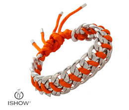 Wholesale Thick Bangle Bracelets - Chromatic rope knitting link chain bracelets Thick chain white K bangle fashion jewelry