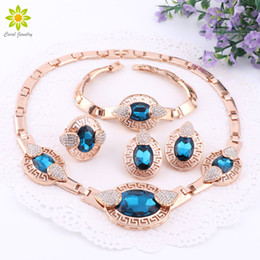 Wholesale asian statement necklaces - African Fine Jewelry Sets Women Gold Plated Jewelry Sets Trendy With Earrings Statement Crystal Necklace For Party Wedding