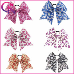 Wholesale Sealed Hair - Wholesale 6 inch Glitter Lip Seal Baby Girls Artificial Leather Lipstick Cheerleading Bows With Elastic Band