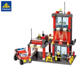 Wholesale Kazi Educational Kids Building Blocks - Kazi Fire Station Building Blocks Toys Compatible Legoe city firefighter Toys Educational Brick Kids Birthday Gift Brinquedo