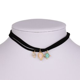 Wholesale Stone Setting Pendant - Vintage Jewelry 3PCS Set Short Rope Chain Velvet Choker With Faux Stone Pendant Gothic Black Necklace Sets Women Chokers