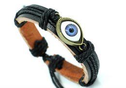 Wholesale Jewelry Turkey Gold Bracelet - Vintage leather bracelets unisex Turkey blue eyes bracelets gifts for lovers hand jewelry Korean style
