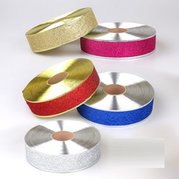 Wholesale Gold Ribbon Roll - High Quality Red Gold Silver Color Gilding Threaded Ribbon For Christmas Sock Decoration Sew On Garment 2m Roll HB018