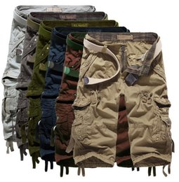Wholesale Khaki Overalls Shorts - 2017 New Hot Capris Trousers Army Cargo Camo combat Shorts bib overall Sports Jerseys Mens Worker Pants with Pocket G651