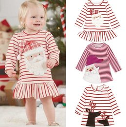 Wholesale Wholesalers For Childrens Clothing - 2017 Christmas Girls Baby Childrens Dresses Snowman Striped Princess Dress for Girls Clothing Xmas Cotton Dresses Boutique Clothes