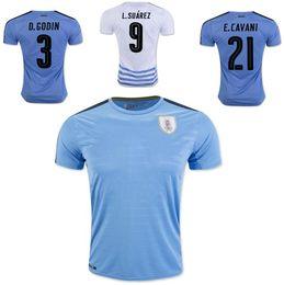 Cheap customized team uniforms - 16 17 Soccer Uruguay Jersey 2016 National Team Customized Football Shirts Uniforms 9 L.SUAREZ 3 GODIN 21 CAVANI 23 SILVA 20 GONZALEZ COATES