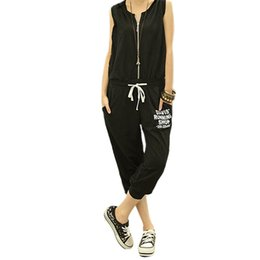 Wholesale Girls Sports Jumpsuits - Wholesale-2016 Sports Women Girl Jumpsuit Pants Loose Short Rompers Sweatsuit 2Colors Casual free shipping