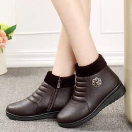Wholesale Free Slope - Wholesale- 2016 new winter fashion warm and comfortable shoes mom slope with non-slip boots elderly female cotton boots Free Shipping