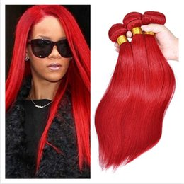 Wholesale 24 Inch Red Hair Extensions - Silky Straight Brazilian Red Hair Extensions 9A Virgin Brazilian Hair Double Wefts Red Color Virgin Hair Weave Bundles 3Pcs Lot