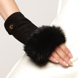 Wholesale Hair Real Rabbit - 2016 Fashion New Fingerless Lambskin Mittens Wrist Solid Real Genuine Leather Gloves For Women Rabbit Hair Free Shipping El019nc