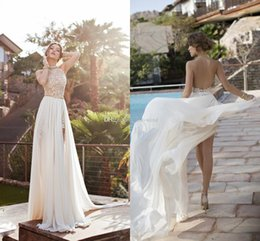 Wholesale Halter Wedding Dresses Slit - Sexy Backless Summer Beach Wedding Dresses 2016 Halter Beaded Crystal Chiffon Lace Side Split Julie Vino Bridal Gowns Dresses IN Stock