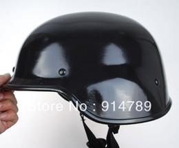 Wholesale Helmet M88 - Wholesale-US SWAT AIRSOFT M88 STYLE STEEL HELMET GLOSSY BLACK-33365