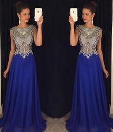 e32c5a302080 Nuovi paillettes in rilievo Sheer Bodice Sexy Royal Blue Prom Dresses 2017  Long Chiffon Girls Party Gowns Abiti da sera