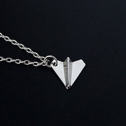 Wholesale Silver Paper Airplane - Wholesale- One Direction 1D Harry Styles Paper Airplane Silver Charms Necklaces Friendship