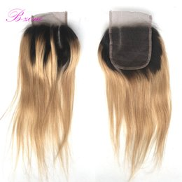 Wholesale Blond Hair Color - #27 Ombre Honey Blond Closure 4x4 Brazilian Hair Straight Top Lace Closure Bleached Knots with Baby Hair Free Shipping