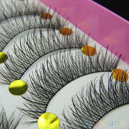 tiras de cílios de cabelo humano Desconto Natural Longo Cílios Postiços Macio Falso Eye Lash 10 Pares Maquiagem Beleza Cílios Postiços Extensão Longa Grosso Lashes Cruz Eye