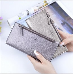 Wholesale Womens Leather Checkbook Wallet - New Fashion Ladies PU Leather Purse Women's Wallets Cowhide 8 Colors Long Design Womens wallets And Purses Card Holder High quality