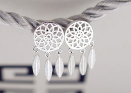 Wholesale Feather Shaped Earrings - 925 Sterling Silver New Fashion Feather tassels Shape Charm Earring Plated Stud Earriings Top Quality Wedding Jewery Lovers Gifts Brincos