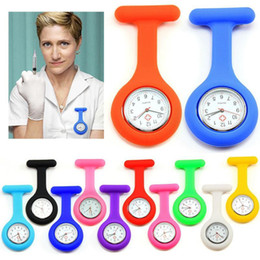 Wholesale Silicone Nurse Brooch Watch - Silicone Nurse Pocket Watch Candy Colors Soft Band Brooch Nurse Watch Brooch Fob Silicone Cover Doctor Watches Mix Color