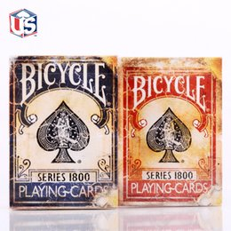 Wholesale Poker Card Magic - Wholesale-Hot Sale High Quality Retro fire Deck plate Vintage Series 1800 Ellusionis Bicycle Playing Magic Cards Magia Poker deck