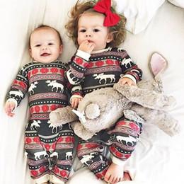 Wholesale Toddler Striped Romper - Baby Christmas Romper Pajamas Toddler Long Sleeve deer printed sets Sleepwear Infant girls boys Nightwear Jumpsuit 3-18M