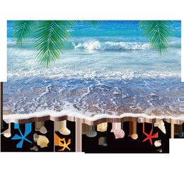 Wholesale Wall Decal Sea Removable - 3D Sea Wave Sand Beach Palm Tree Leaves Shell Wall Stickers Living Room Bathroom Wallpaper Decor Poster Vivid Blue Sea Motif Wall Applique