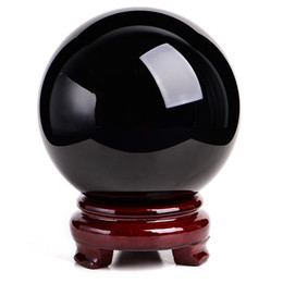 Wholesale Black Feng Shui - 100mm High quality fashion obsidian ball natural crystal obsidian black ball round setting feng shui cure fitness ball ward off bad luck
