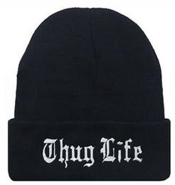 THUG LIFE Casquette Plaine Chaude Doux Beanie Crâne Tricoté Bonnets Bonnets Tricoté Élastique Casquette Skull Caps OOA2602 ? partir de fabricateur