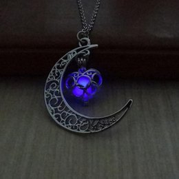 Wholesale Steampunk Locket Necklace - Brand New Steampunk Pretty Magic Fairy Locket Glow In The Dark Moon Pendant Necklace Gift 1 Pc Free Shipping [GE04430]