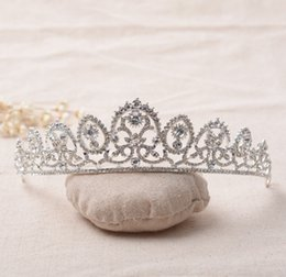 Wholesale Girls Pageant Crowning Dresses - The Actual Shooting Women Girl Tiara Crown Jewelry Q39 Pageant Full Rhinestone Sparkling Evening Prom Party Dresses Accessories Suppli
