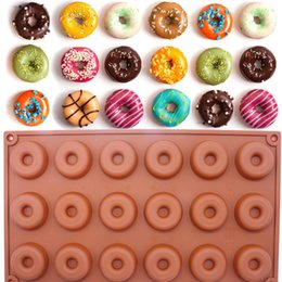 Wholesale Donut Cake - 18-Cavity Silicone Mini Donut Doughnut Dessert Baking Mold Round Shaped Cake Chocolate Candy Soap Mould Biscuit Cupcake Mold