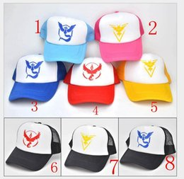 Wholesale Discount Church Hats - Cheap Discount poke go Ball Caps Valor Instinct Mystic Red Color Fashion Adjustable Mesh Baseball Cap Poke Hats Men and Women Snapbacks