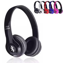 Wholesale Handset Earphone Bluetooth - Headband Bluetooth Headphones P24 H.P Head Band Earphone Wireless Sport Ear Hook Handset Neckband for Apple Samsung HTC LG