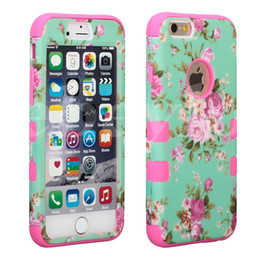 Wholesale Hybrid Flower Case - Defender Hard Back Case For Iphone 6 7 Plus Waterproof Shock Proof Hybrid Plastic & Silicone Cover With Beautiful Flowers 6Colors OPP Bag