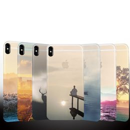 Wholesale Natural Clear Skin - Colored Drawing Scenery Clear Soft TPU Gel Slim Mountain City Sunset Ocean Natural Landscape Skin Cover Case for iPhone X 8 Plus 7 6 6S