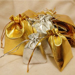 Wholesale Gauze Jewelry Bags - 4 sizes satin jewelry gift pouches bags High quality Hot gold and silver plated Gauze Satin Christmas Gift wedding gift Pouch Bag wholesale
